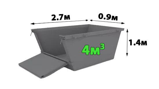 контейнер 4 кубика за извозване на стоителни отпадъци
